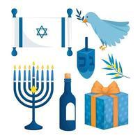 definir decoração de feliz hanukkah vetor