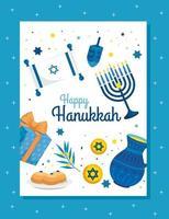 feliz hanukkah com velas e decoração de cenário vetor