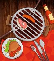 menu de grelhados com forno e comida deliciosa em fundo de madeira vetor