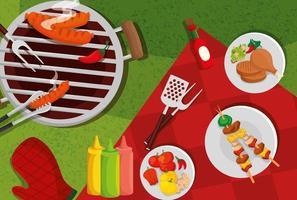 delicioso menu de grelhados com forno e comida vetor
