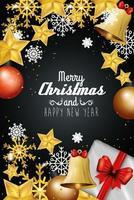 cartaz de feliz natal e feliz ano novo com decoração vetor