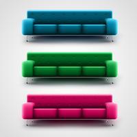 Sofás azuis, verdes e rosa, vetor
