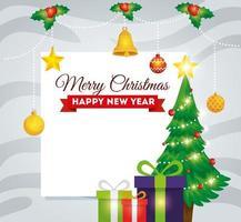 cartão de feliz natal com pinheiro e caixas de presente vetor