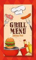 menu de grelhados com chapéu de chef e comida deliciosa vetor