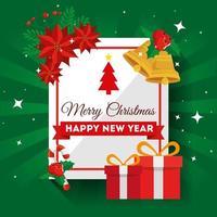 cartão de feliz natal com caixas de presente e decoração vetor