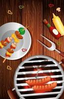 menu de grelhados com forno e ícones no fundo de madeira vetor
