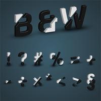 Conjunto de fontes 3D preto e branco, ilustração vetorial
