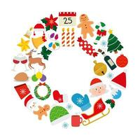 conjunto de natal com decoração e personagens vetor