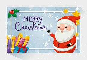 cartão de feliz natal com papai noel e decoração vetor