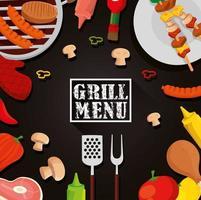 menu de grelhados com moldura de decoração de comida vetor