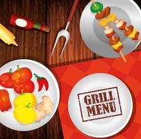 delicioso menu de grelhados e pratos com comida em fundo de madeira vetor