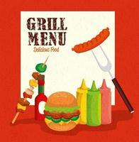 cardápio de grelhados com hambúrguer e comida deliciosa vetor