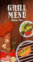 menu de grelhados com comida deliciosa em fundo de madeira vetor