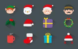 enfeite o natal com decoração e personagens vetor