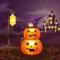 abóboras com chapéu de bruxa em cena halloween vetor