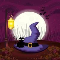 chapéu de bruxa com gato em cena de halloween vetor