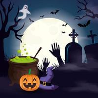 caldeirão com abóbora e ícones na cena de halloween vetor