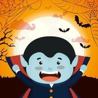 menino disfarçado de drácula em cena de halloween vetor