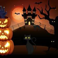 gatos com abóboras e castelo assombrado na cena do dia das bruxas vetor