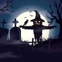 espantalho no cemitério em cena de halloween vetor