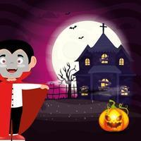 menino disfarçado de drácula com casa mal-assombrada vetor