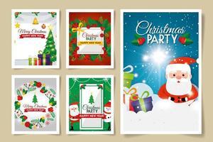 conjunto de cartas feliz natal com decoração vetor