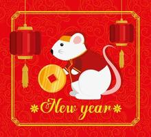 feliz ano novo chinês com rato e decoração vetor