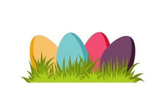 conjunto de ovos coloridos decorativos de Páscoa na grama verde. vetor