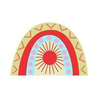 arco-íris minimalista com canecas e sol para crianças. vetor