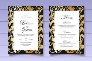 modelo de cartão de convite de casamento em mármore vetor