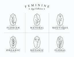 conjunto de coleção de logotipo estilo botânico minimalista desenhado à mão vetor