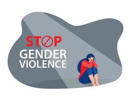 a mulher deprimida senta no chão, pare a violência contra a mulher vetor