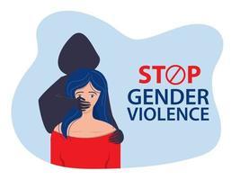 o homem cobre a boca da mulher com a mão. parar a violência contra vetor