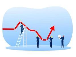 empresário segurando a seta decrescente do gráfico para cima vetor
