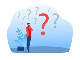 empresário escolhendo estratégia de trabalho para o sucesso. dilema de perguntas vetor