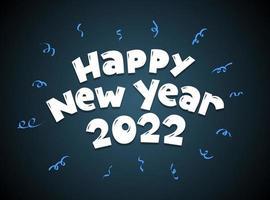 inscrição de letras manuscritas de estilo cartoon de feliz ano novo 2022 vetor