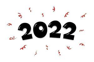 mão desenhada texto letras número com confete. feliz ano novo 2022 vetor