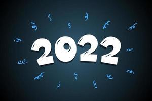 Número da rotulação do texto em quadrinhos de 2022 desenhos animados mão desenhada. feliz Ano Novo vetor