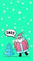 personagem de papai noel para o natal e feliz ano novo de 2022 vetor