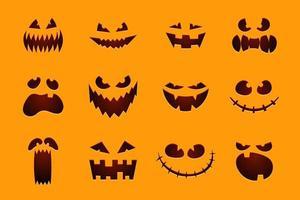 Halloween monster jack lanterna abóbora esculpida e brilhante conjunto de rosto assustador vetor