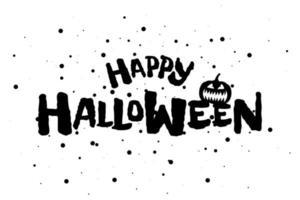 webhappy halloween feriado texto com jack o lantern assustador abóbora vetor