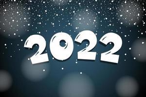 2022 desenhos animados mão desenhada letras número com neve. feliz Ano Novo vetor