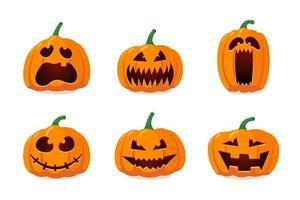 Halloween monstro jack lanterna laranja abóbora esculpida rosto assustador vetor