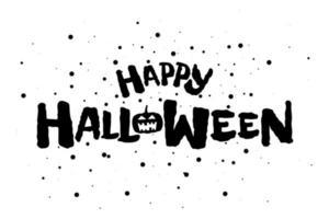 webhappy halloween assustador feriado texto banner com jack o lantern vetor