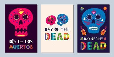 dia dos mortos mexicano banners dia de los muertos vetor