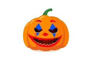Halloween assustador jack o lantern com sorriso assustador de palhaço curinga vetor