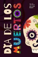 dia mexicano do cartaz de feriado morto. dia de los muertos vetor