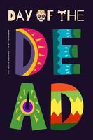 dia mexicano do cartaz de vetor de carnaval morto. dia de los muertos