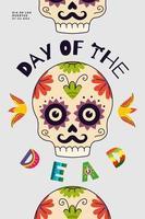 dia mexicano do cartaz da festa dos mortos. dia de los muertos national vetor