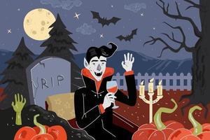 feliz dia das bruxas feriado cartão de felicitações. vampiro na noite de luar vetor